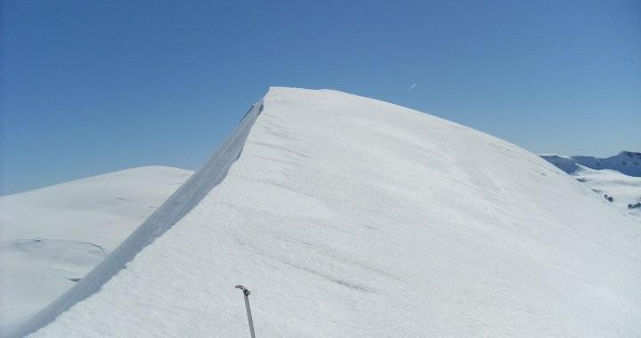 Ice axe on a glacier