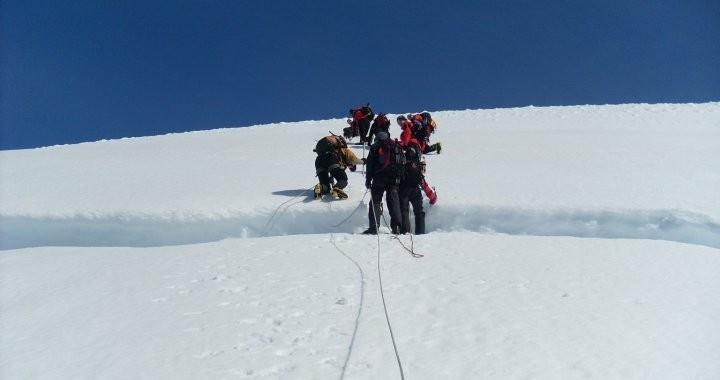 Crossing a crevice in Vatnajokull glacier.