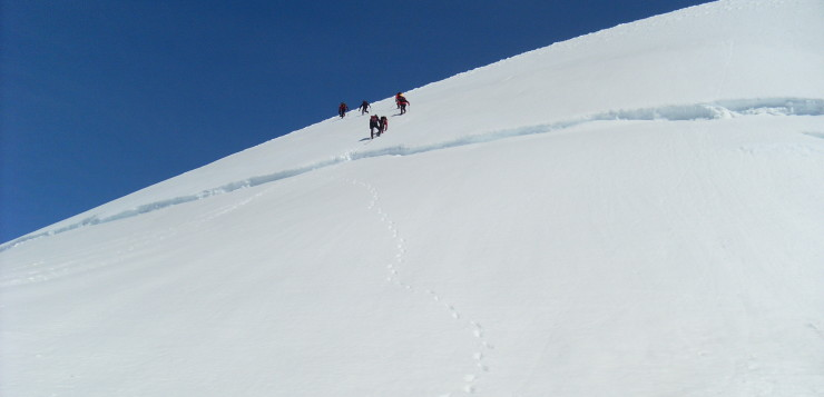 Crossing a crevice in Vatnajokul glacier - coming down from Hrutfjallstindar peaks
