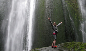 Enoying the awesomeness that is Gljúfrabúi waterfall.