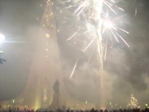 Fireworks in front of the Hallgrímskirkja Cathedral in Reykjavik, Iceland