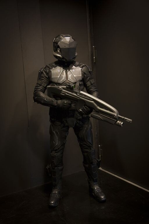 A soldier from the First Person Shooter Dust 514 which is a part of the EVE online universe.