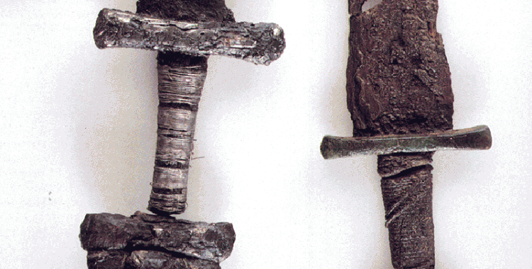 Pommels of Viking swords. Swords were expensive weapons and often only wielded by the high and mighty in Viking age society.