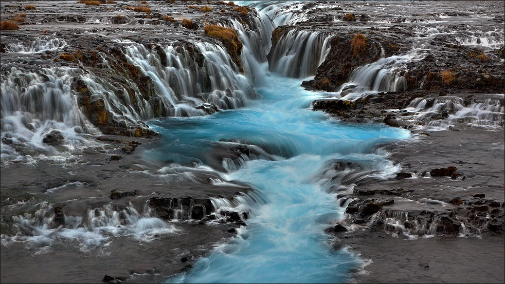 Brúarfoss waterfall in autumn.