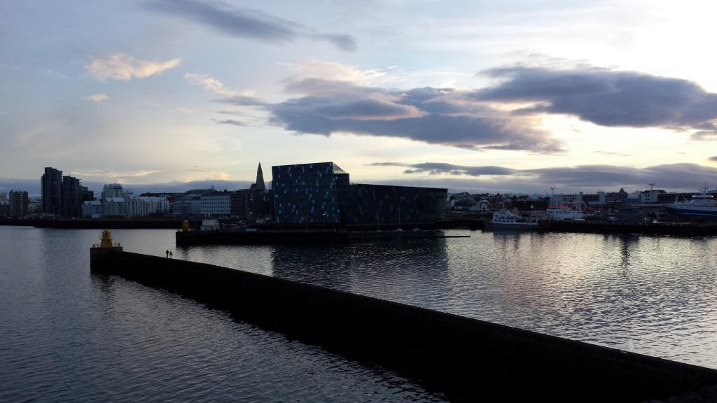 A rare angle of the Harpa Conference and Concert Hall