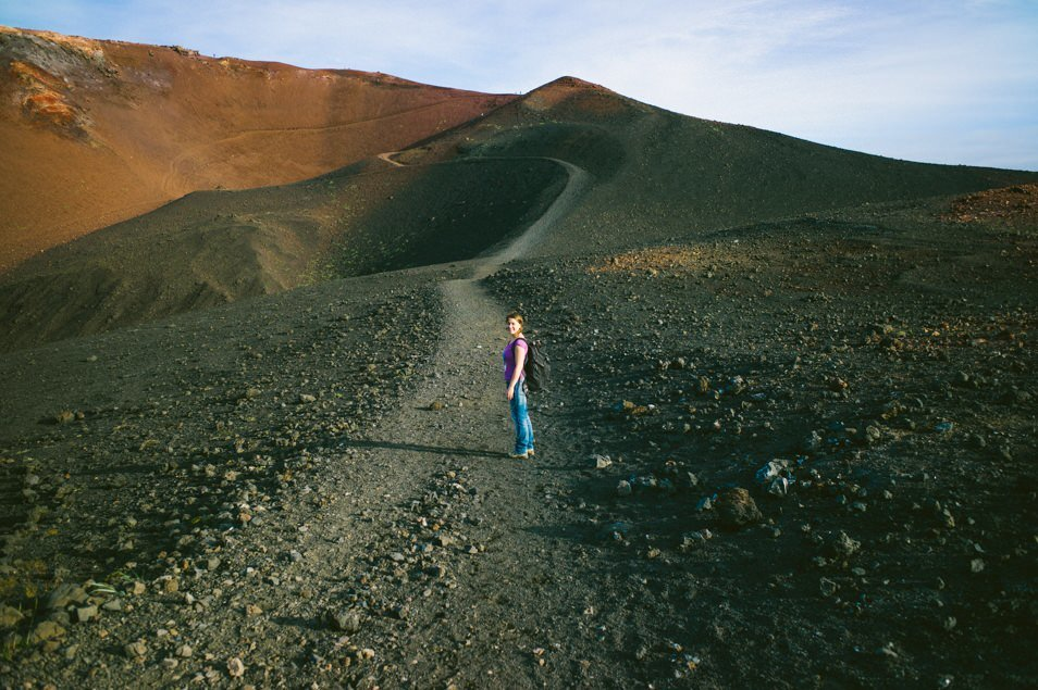 The Author heading up the fearsome volcano.
