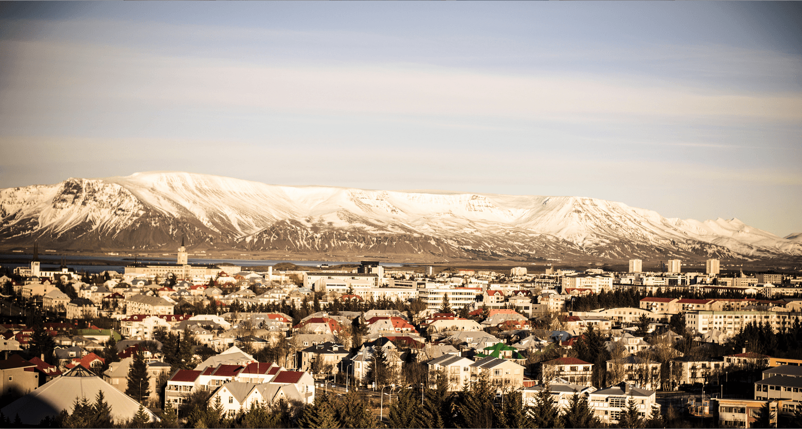 Reykjavik houses with Mt. Esja in the background
