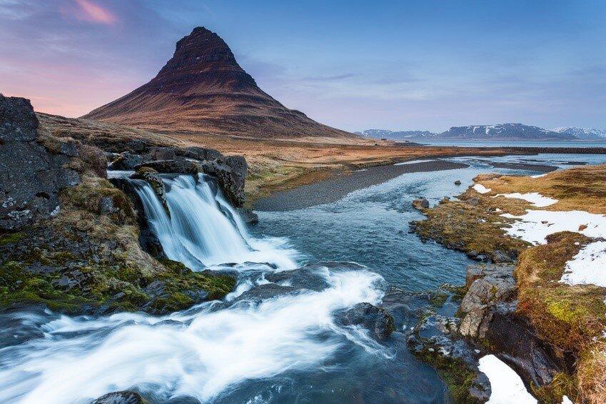 The wonderful Kirkjufell mountain and Kirkjufellsfoss waterfall.