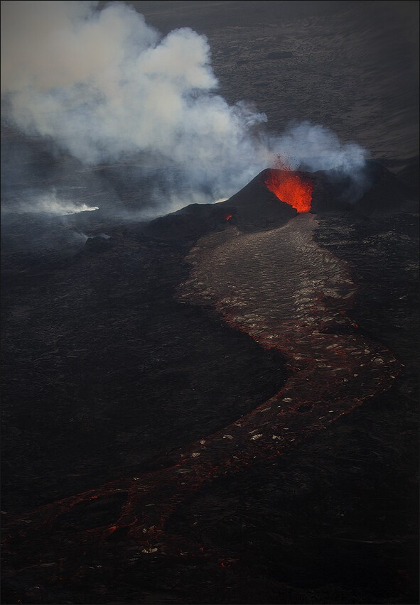 The lava flows freely from one of the fountains