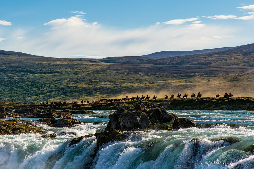 Goðafoss waterfall in the North of Iceland.