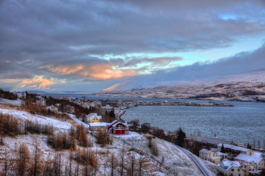 Sunrise over Akureyri.