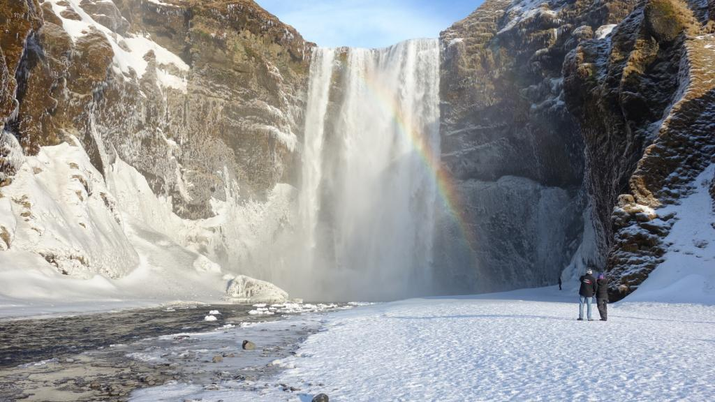 Skogarfoss waterfall is stunning in winter.