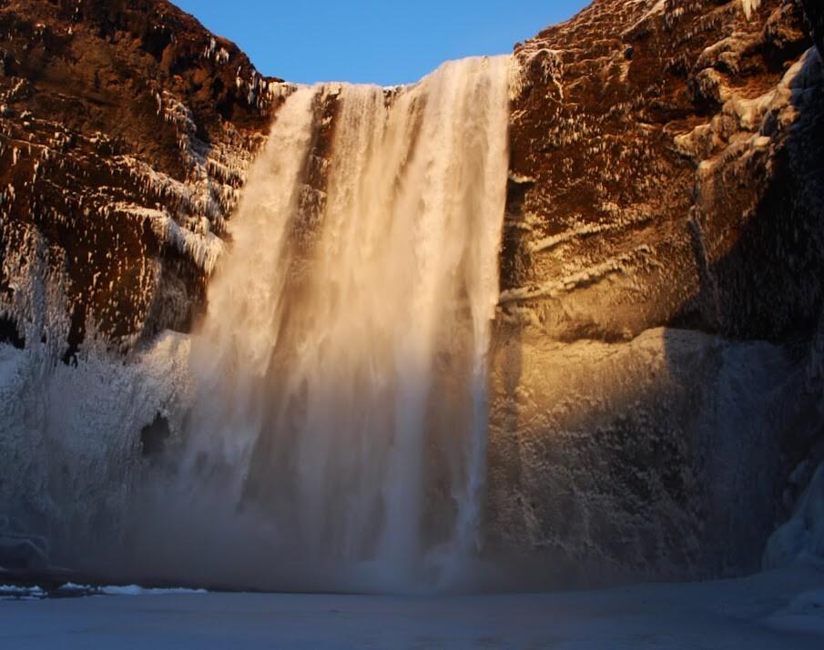 Waterfall in the winter sun.
