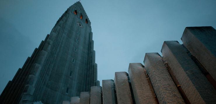 Hallgrimskirkja cathedral in the center of Reykjavik.