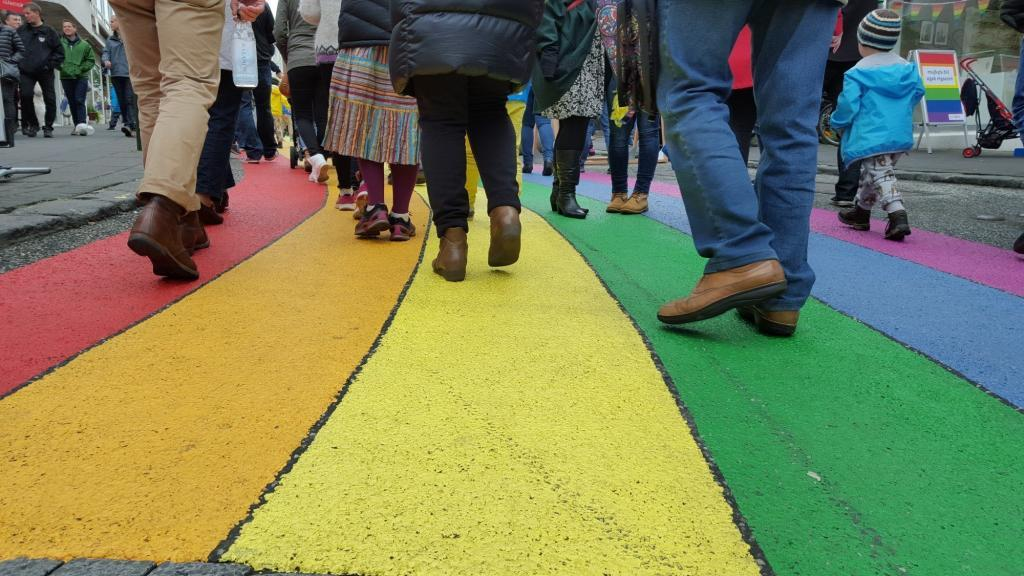 Skolavordustigur Street is rainbow colored for Reykjavik Pride.