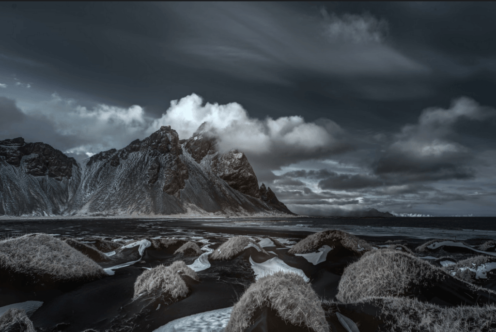 Vestrahorn in the South East of Iceland. It is often called ´Batman´Mountain.
