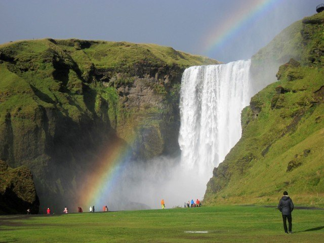 Seljalandsfoss with rainbow. That is something that the Icelandic tourist board would certainly approve of.