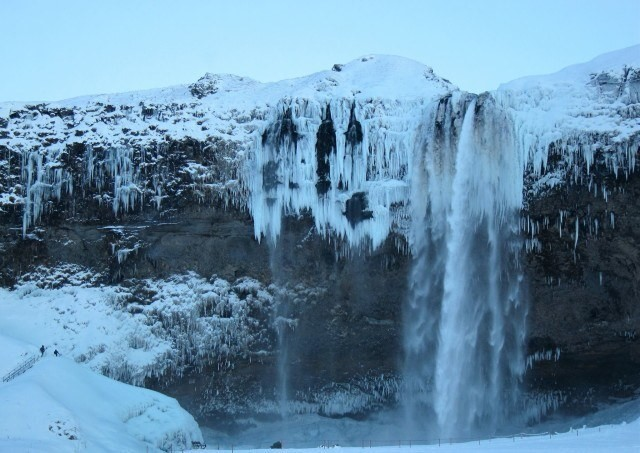 Frozen Seljalandsfoss waterfall.