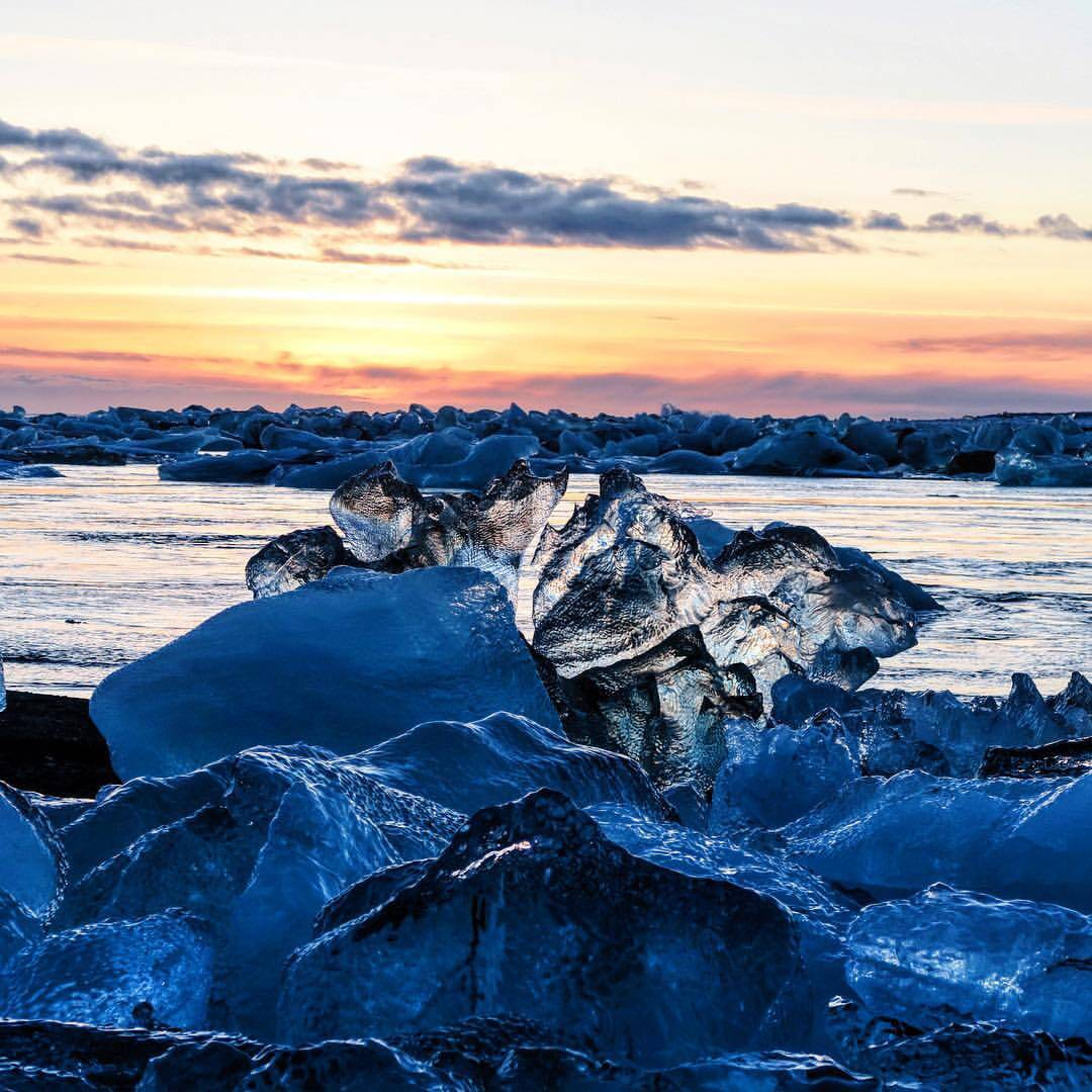 Jökulsarlon glacial lagoon and Breidamerkursandur beach are must see places in Iceland.