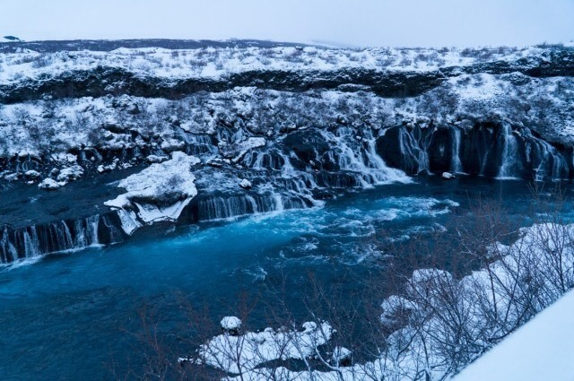 Hraunfossar waterfalls in winter.