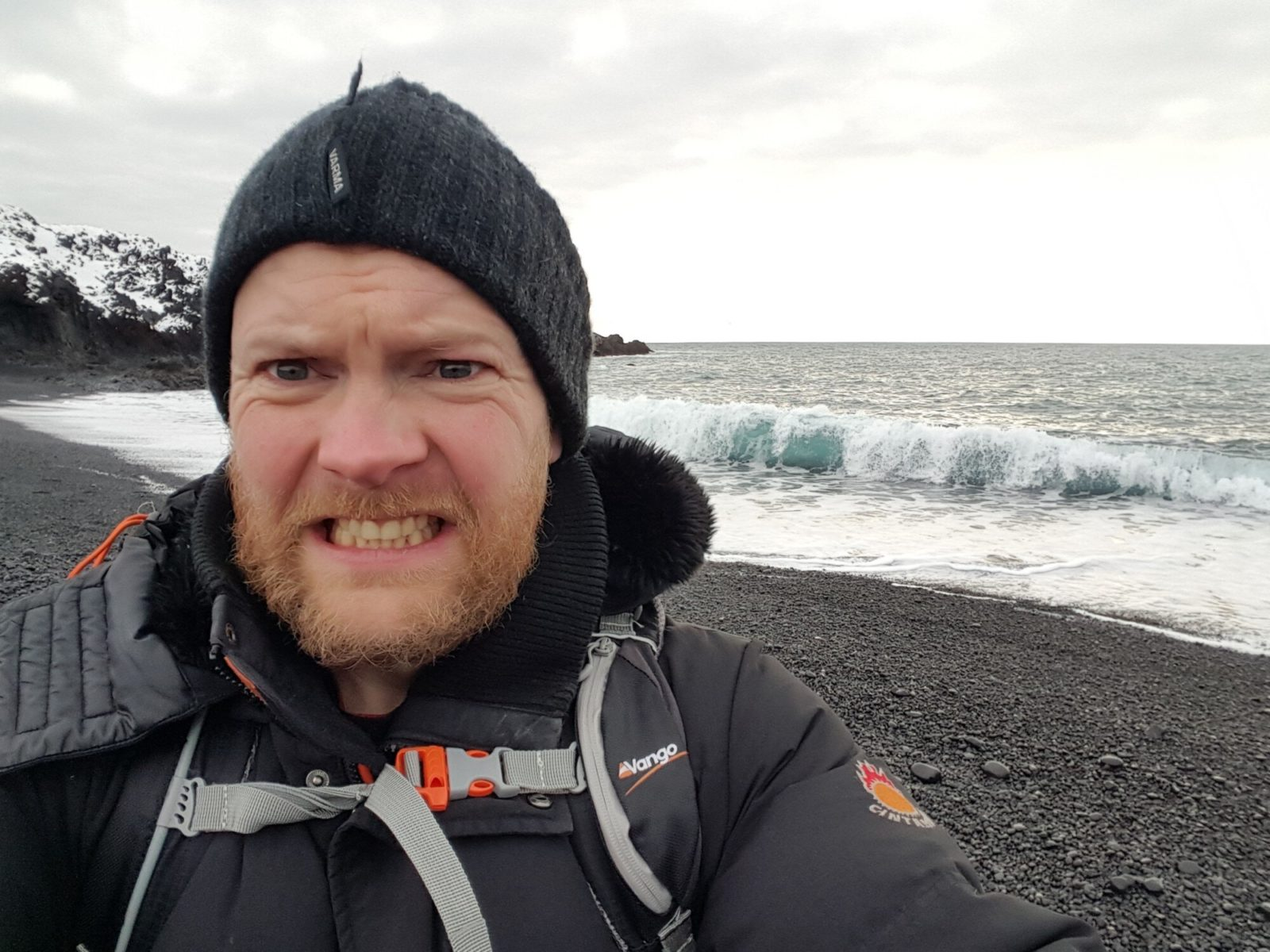 Witness me! This dramatic selfie is to warn you about the dangers of Icelandic beaches. Sometimes the waves can roll in with extreme power.
