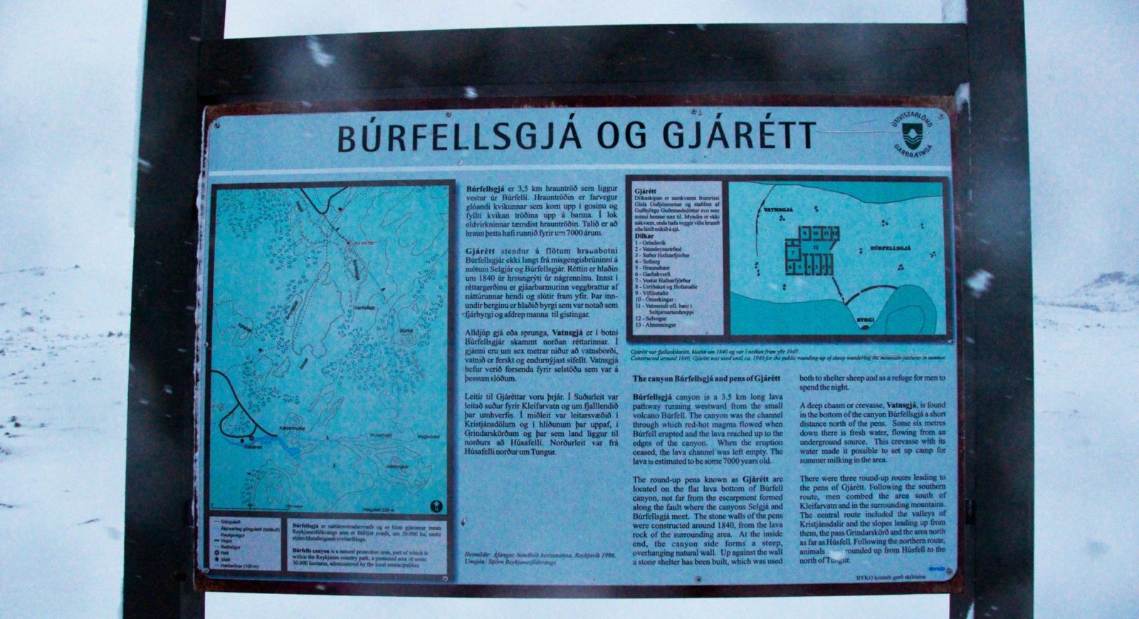 Where you can find information about Búrfellsgjá.