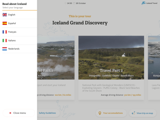In the Iceland Travel Companion app, you can read about Iceland in the included road books.