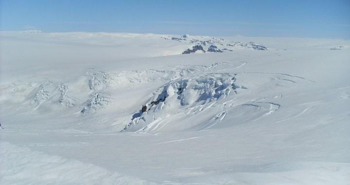 Vatnajokull Glacier seen from Hrútfjallstindar Peaks.