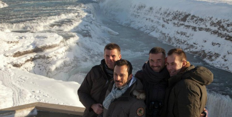At the Gullfoss waterfall which is on the Golden Circle route.