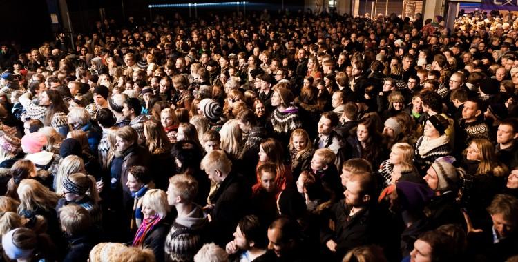 "The woolen jumper clad crowd at the Icelandic music festival ""Aldrei fór ég suður"" having good natured clean fun!"