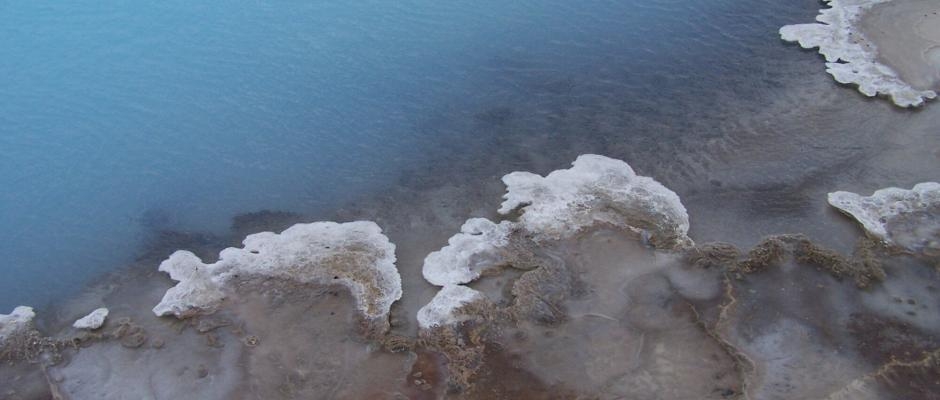 The blue clear water of the geothermal pools at Landmannalaugar.