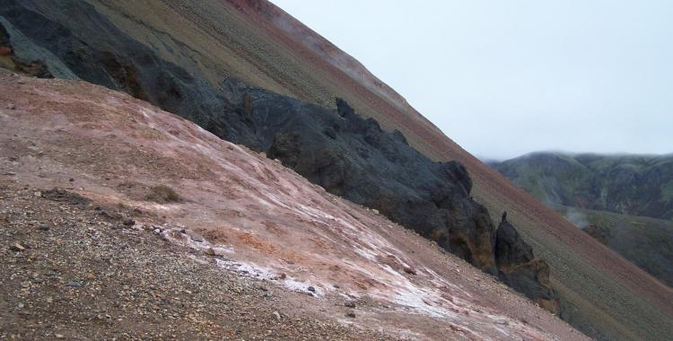 The steep slope up the Brennisteinsalda volcano has many different hues of colors