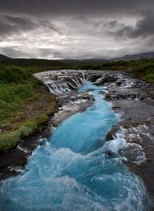 Brúarfoss waterfall in summer.
