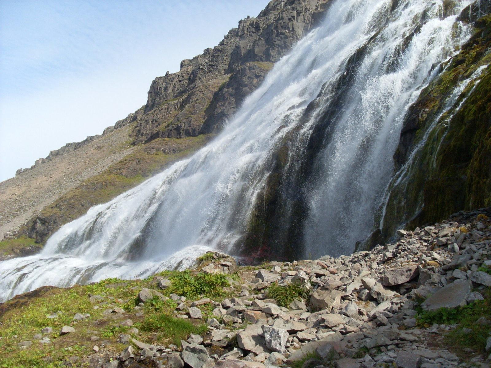 A side view of Dynjandi Waterfall