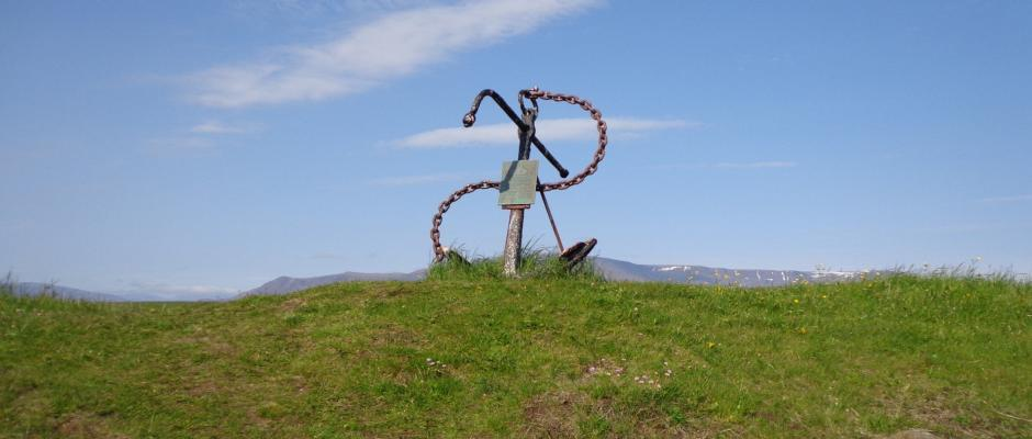 A monument for sailors lost at sea. The anchor belongs to a sail ship that sunk with all hands in 1906