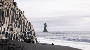 Reynisfjara beach near the village of Vík on the south coast of Iceland
