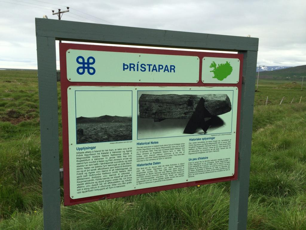 The Sign at Thristapar. It guides to the place of execution of Agnes Magnusdottir (photo credit: Tor Bilski).