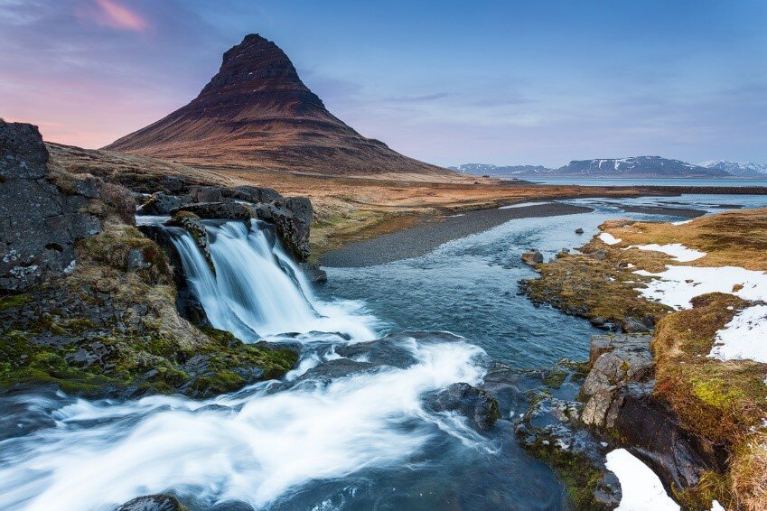 The wonderful Kirkjufell mountain and Kirkjufellsfoss waterfall.