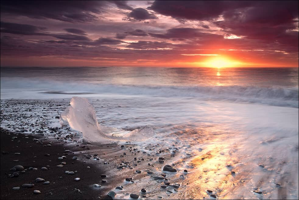 Sunrise at Diamond Beach in Iceland or Breidamerkursandur. Photo by Martin Schulz.
