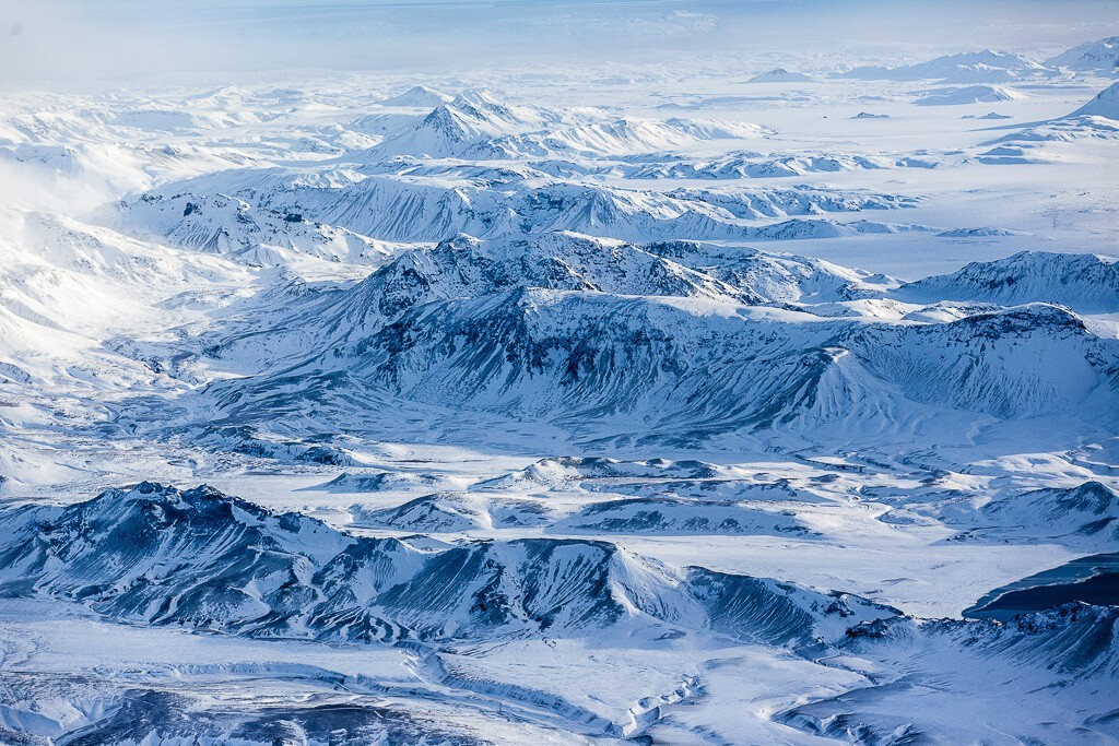 Flying over Iceland.