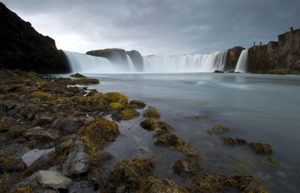 Goðafoss waterfall is located in the Bárðardalur valley in the North-Central Iceland.