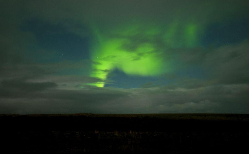 Northern lights above northern Iceland