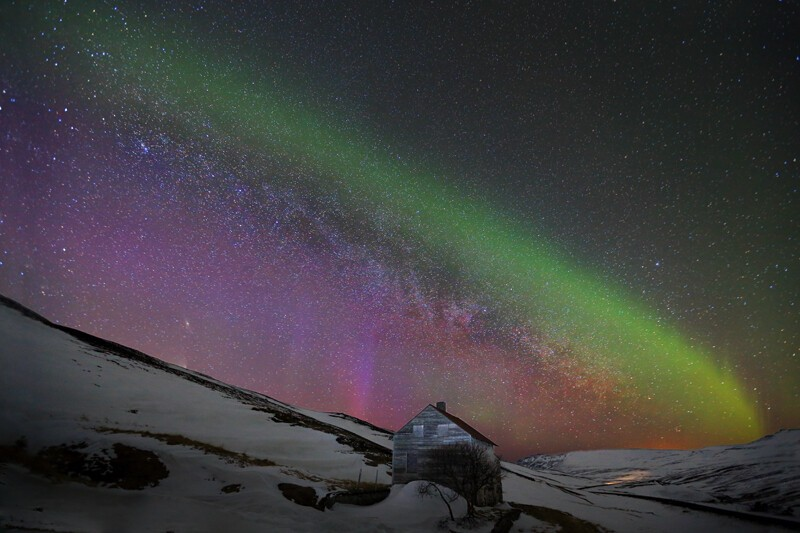 Haunted house and milky way.