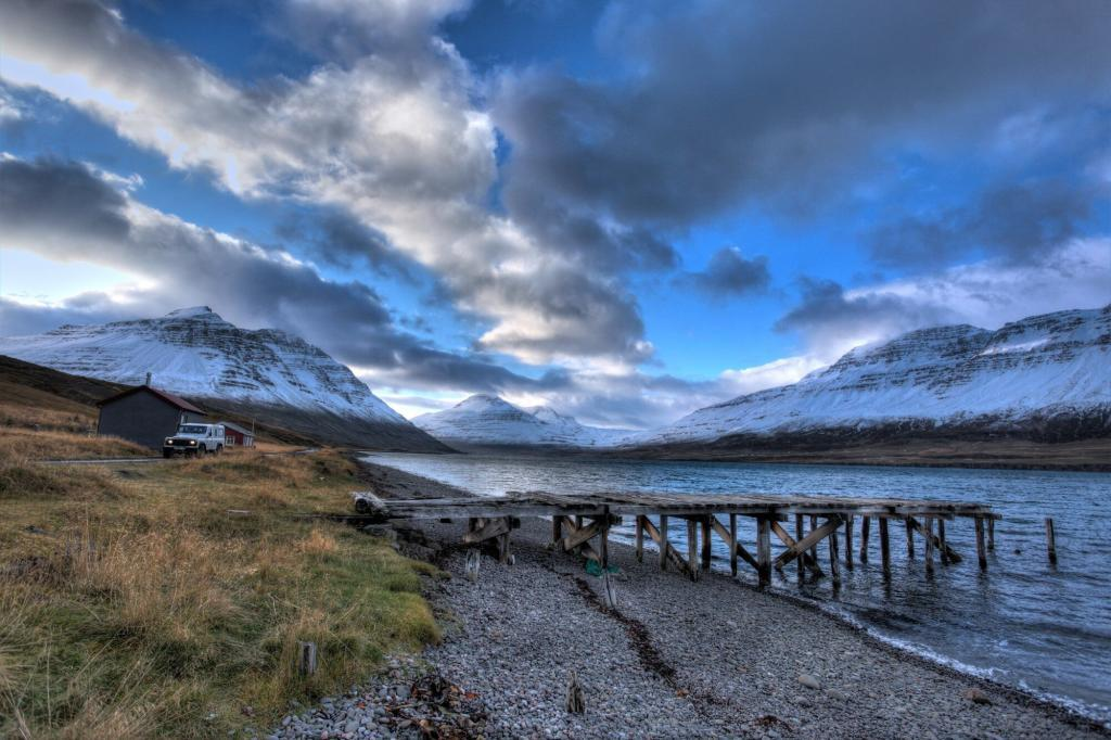 A decaying pier outside Seydisfjordur.