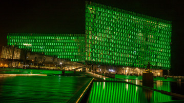Harpa going green for St. Patricks Day