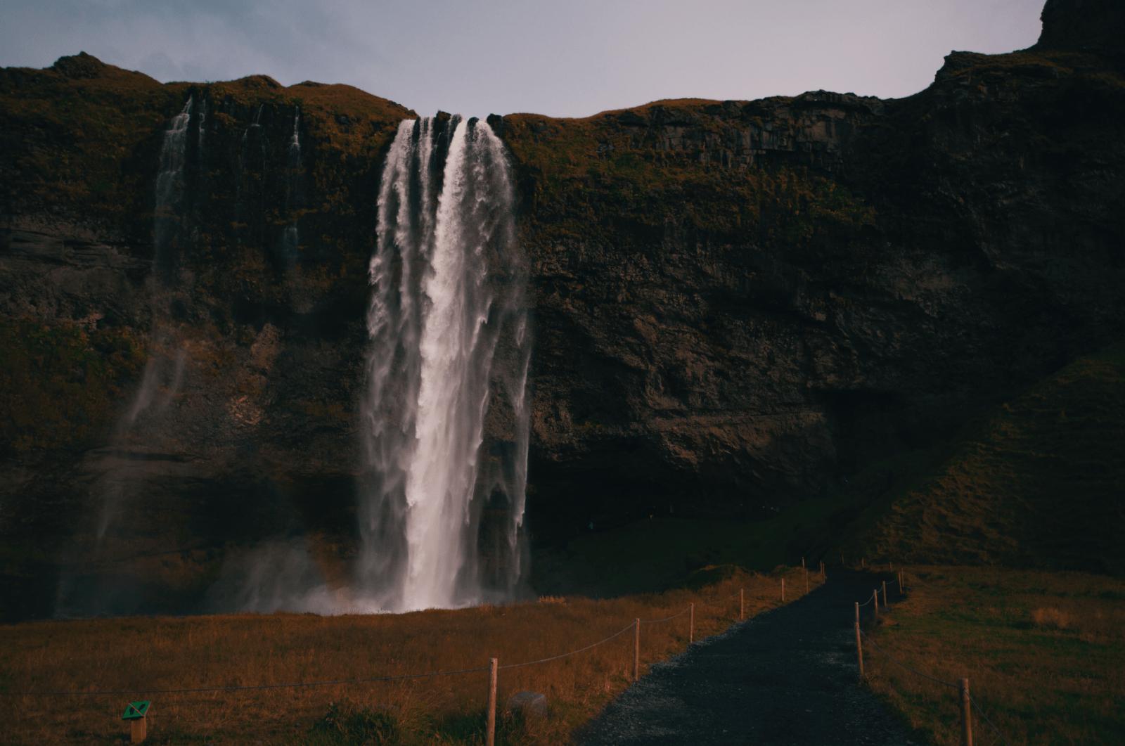 Seljalandsfoss waterfall.
