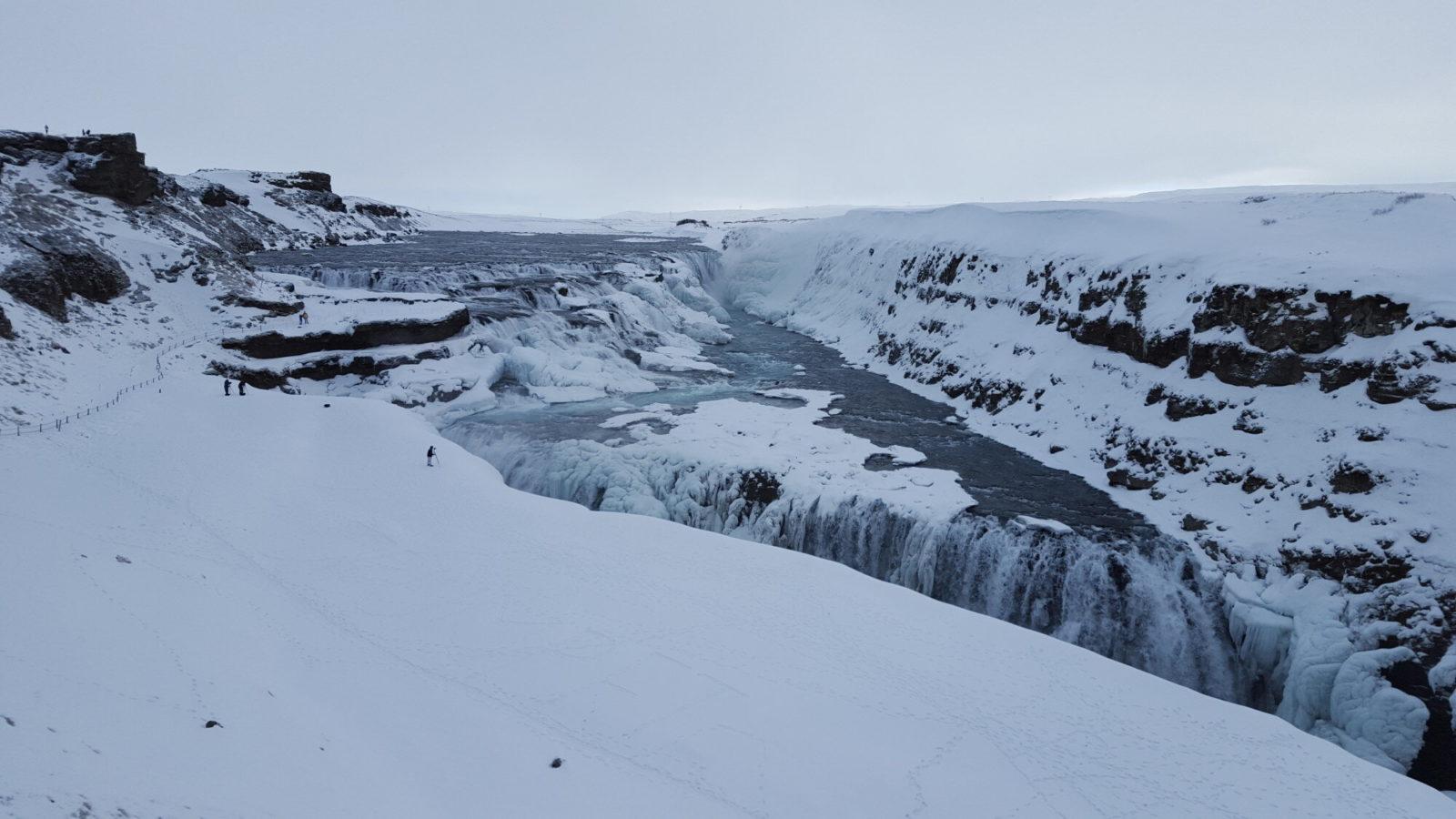 Gullfoss Waterfall in winter.