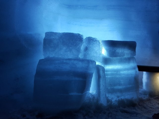 Illuminated ice.