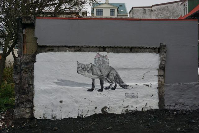 Graffiti in Reykjavik showing two foxes.
