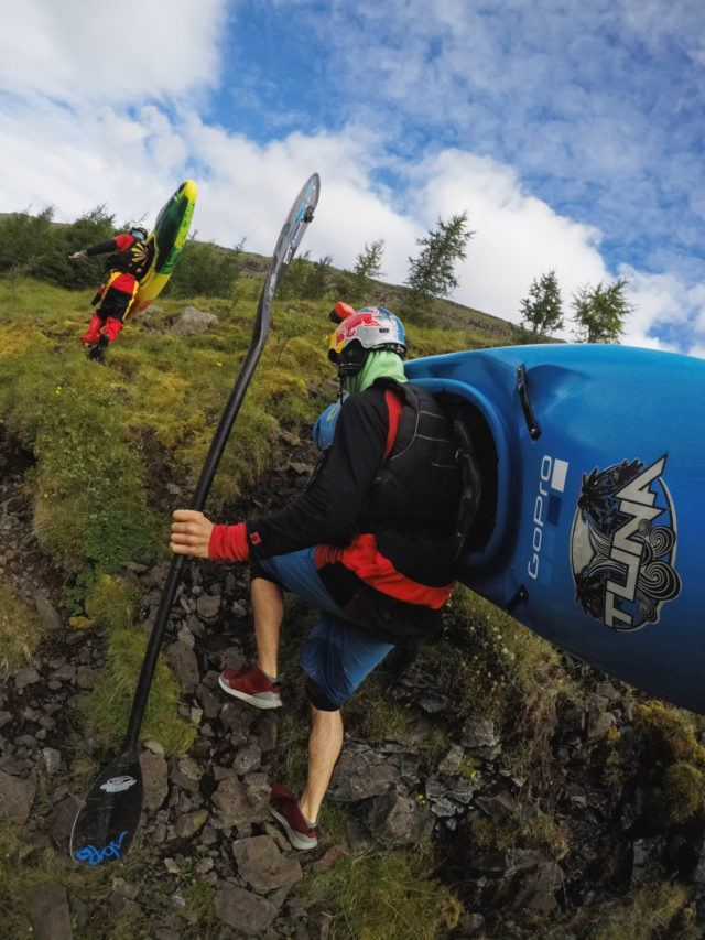 It can hard work carrying your kayak and gear to the drop off point.